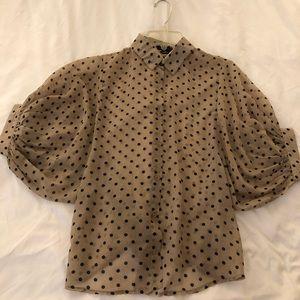 Polka dot sheer button down blouse.